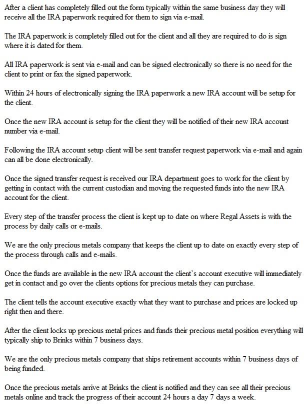 Regal Assets Gold IRA Procedure