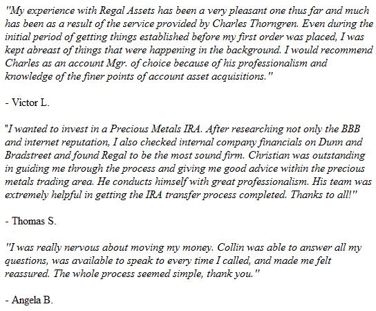 Regal Assets Testimonials